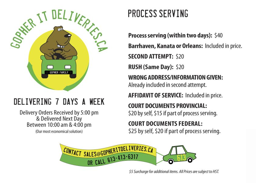 Process Serving Ottawa GopherIt Deliveries